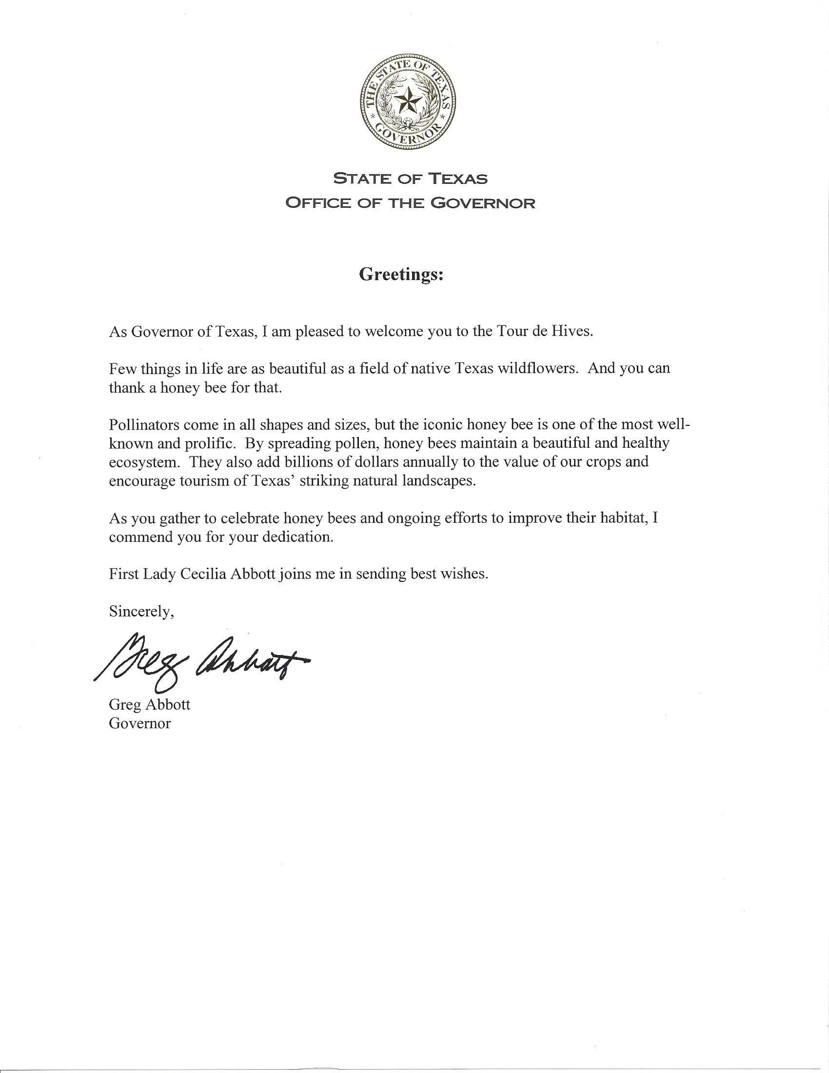 Welcome Letter From Governor Abbott For Tour De Hives